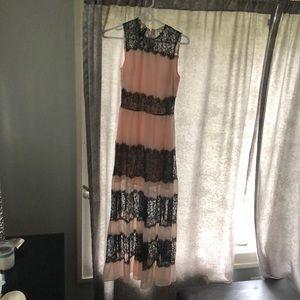 Bebe brand light pink and black lace dress